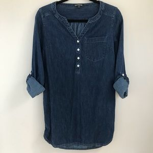 {XS} Express Tab Sleeve Denim Chambray Dress